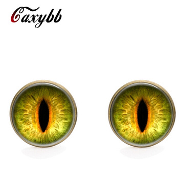 Glass stud earring 18mm dragon eye earring ssilver Pentacle earring for women Christmas gift vintage jewelry CE11