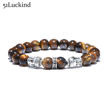 New Design Buddha Head Strand Bracelet Tiger Eyes Round Beads Buddhism Braclet For Men Women Hand Jewelry bileklik