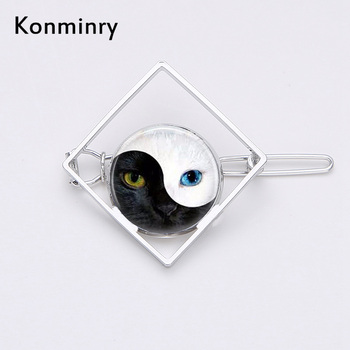 Vintage Yin Yang Cat Square Shape Hair Clips Fashion Glass Dome Tai Chi Hairpin For Women Girl Flower Barrettes Jewelry Konminry