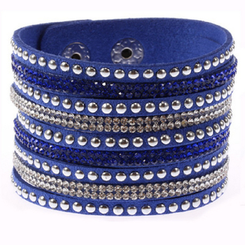 Women Fashion Leather Wrap Wristband Cuff Punk Rhinestone Bracelet Bangle