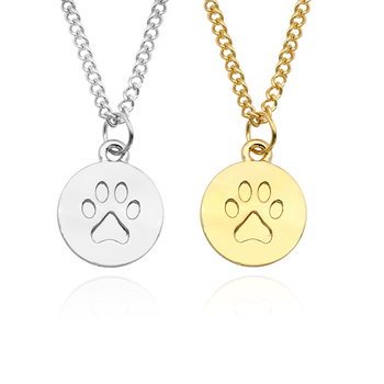 DIY Vintage Paw Pendant Charm Choker Necklace Cute Pet Dog Paws Stainless Steel Gold Chain Necklaces&Pendants Gift Drop Shipping