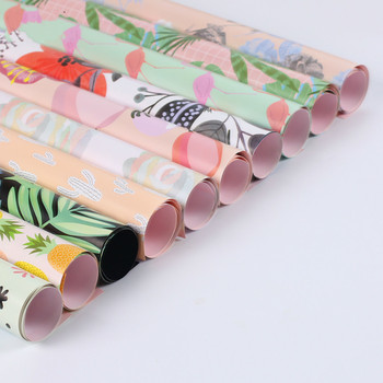 Korean Wrapping Paper Oil Painting Pattern Paper Flamingo Flower Packing Paper Florist Decoration Party Supplies 10pcs/lot